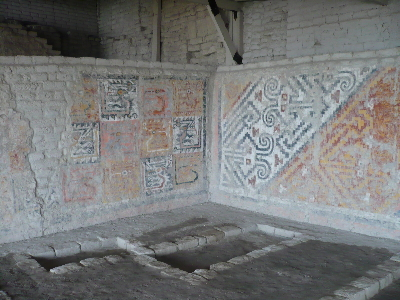 Wall paintings at Huaca de Cao