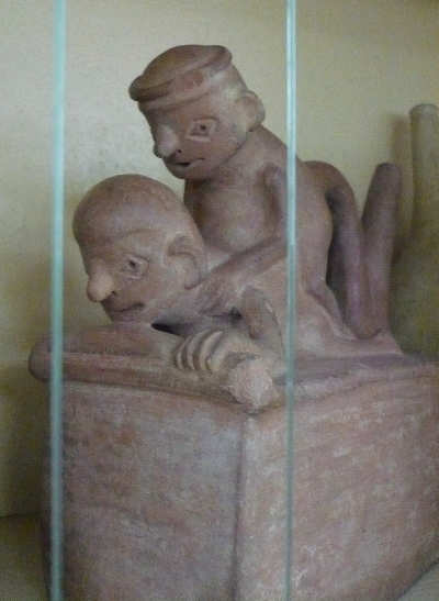 A gay couple ceramic in the Erotic Moche ceramics cupboard