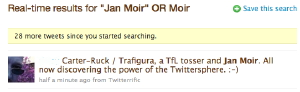 Twitter screen grab referring to Trafigura and Jan Moir