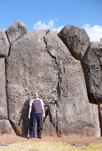 Me and one of the megaliths at Saqsaywaman, Cuzco - click to see more on Flickr