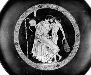 An ithyphallic man fondles a boy's genitals