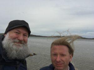 David and Colin crossing The Strand at Oronsay