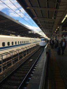 Shinkansen arrives at Nagoya