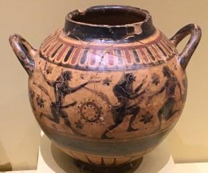 Attic Bronze Age vase with ithyphallic satyrs